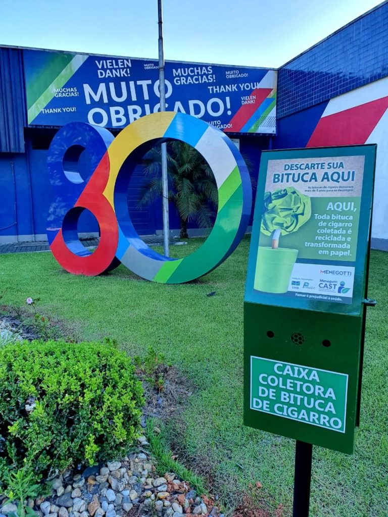 MENEGOTTI GROUP IS PIONEER IN THE STATE OF SANTA CATARINA (SOUTH BRAZIL) IN COLLETCT CIGARETTE BUTTS FROM THE FLOOR OF OUR UNITS AND SURROUNDINGS FOR RECYCLING.